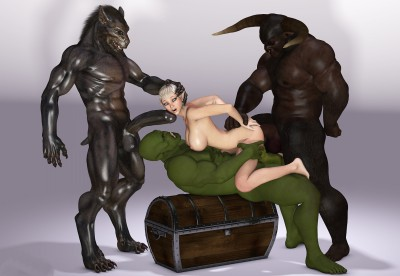 3d elf fucked by three demons and monsters